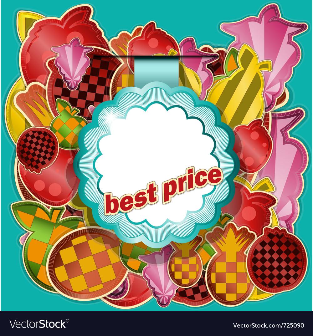 Fruit sticker vector