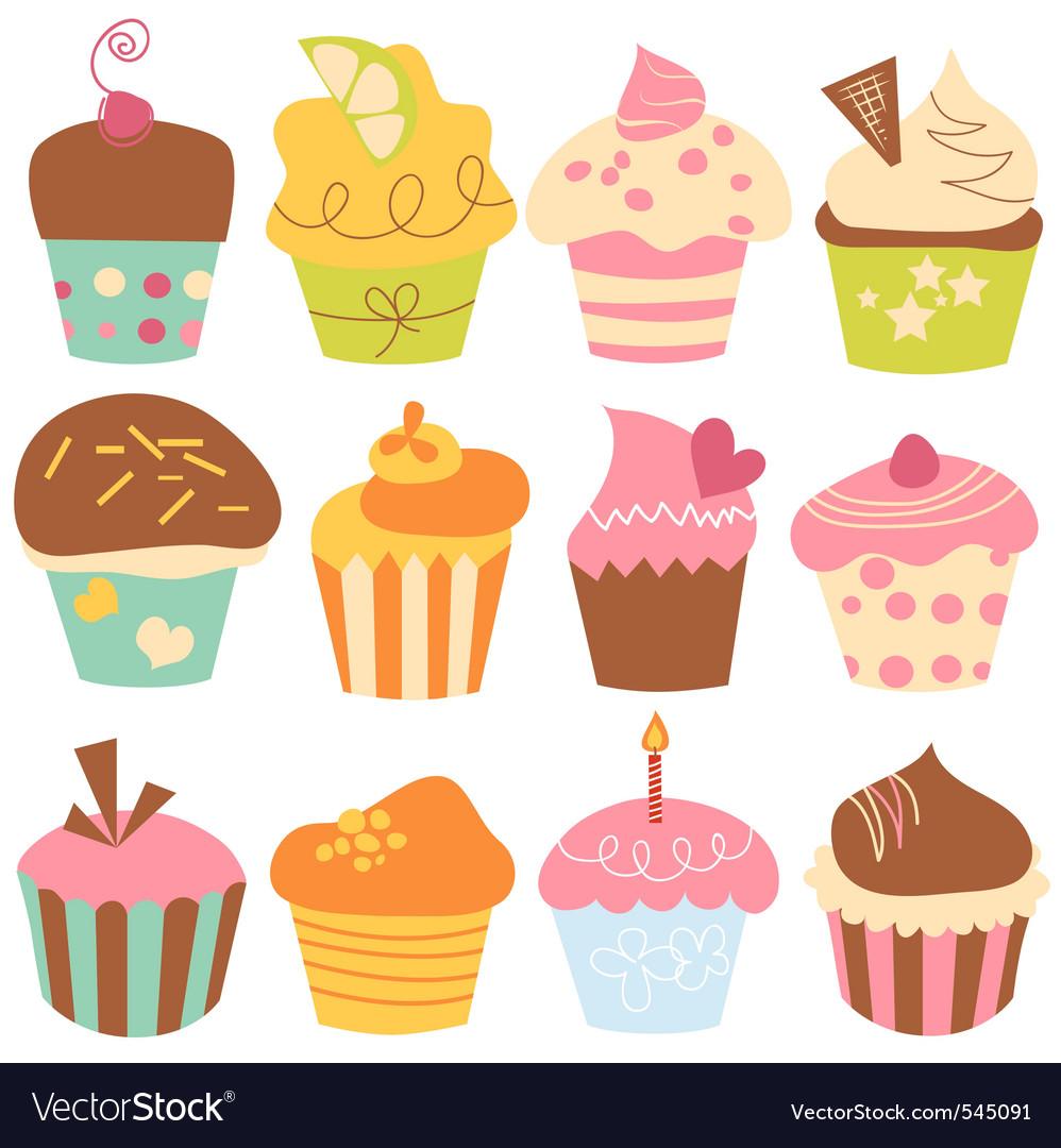 Cute cupcakes set vector