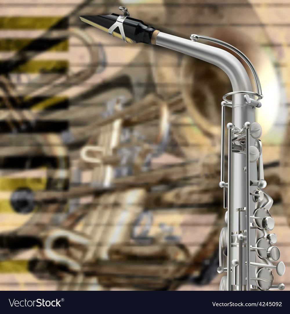 Abstract music beige background with saxophone and vector