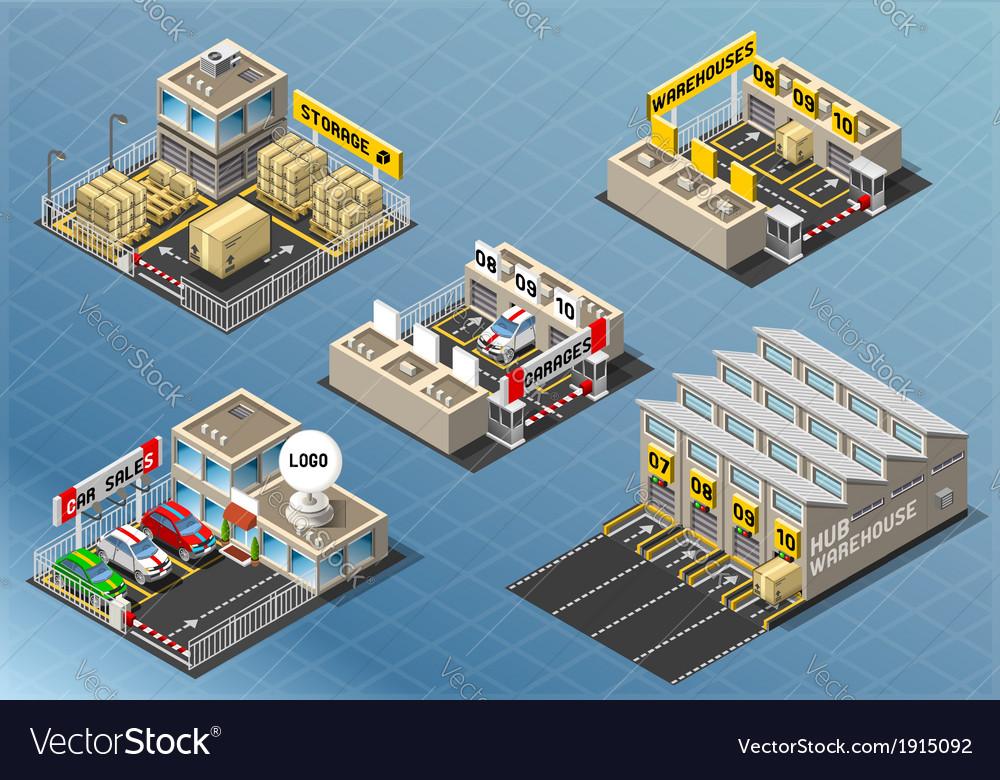 Isometric set of storage buildings vector