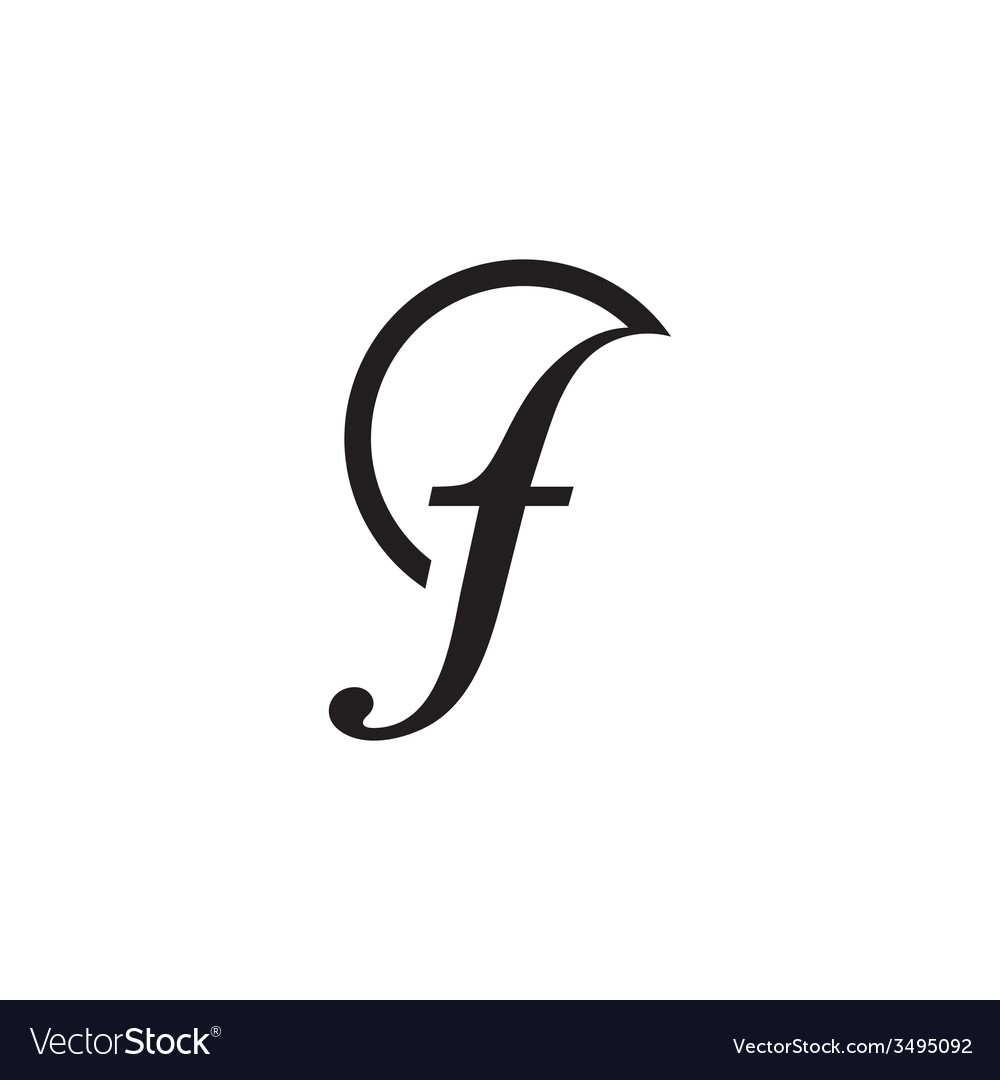 Sign the letter f vector