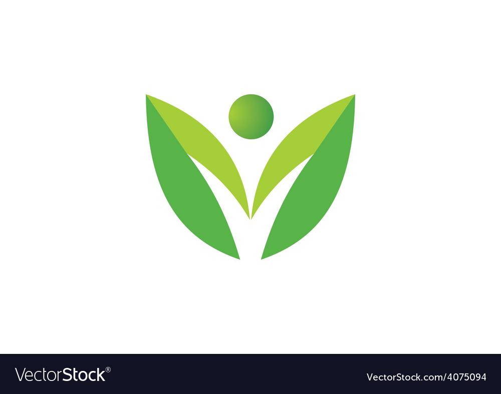 Leaf people nature ecology logo vector