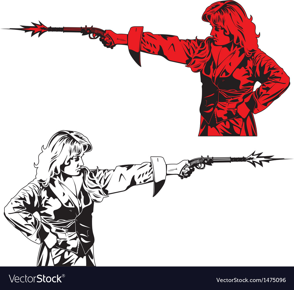 People with pistols vector