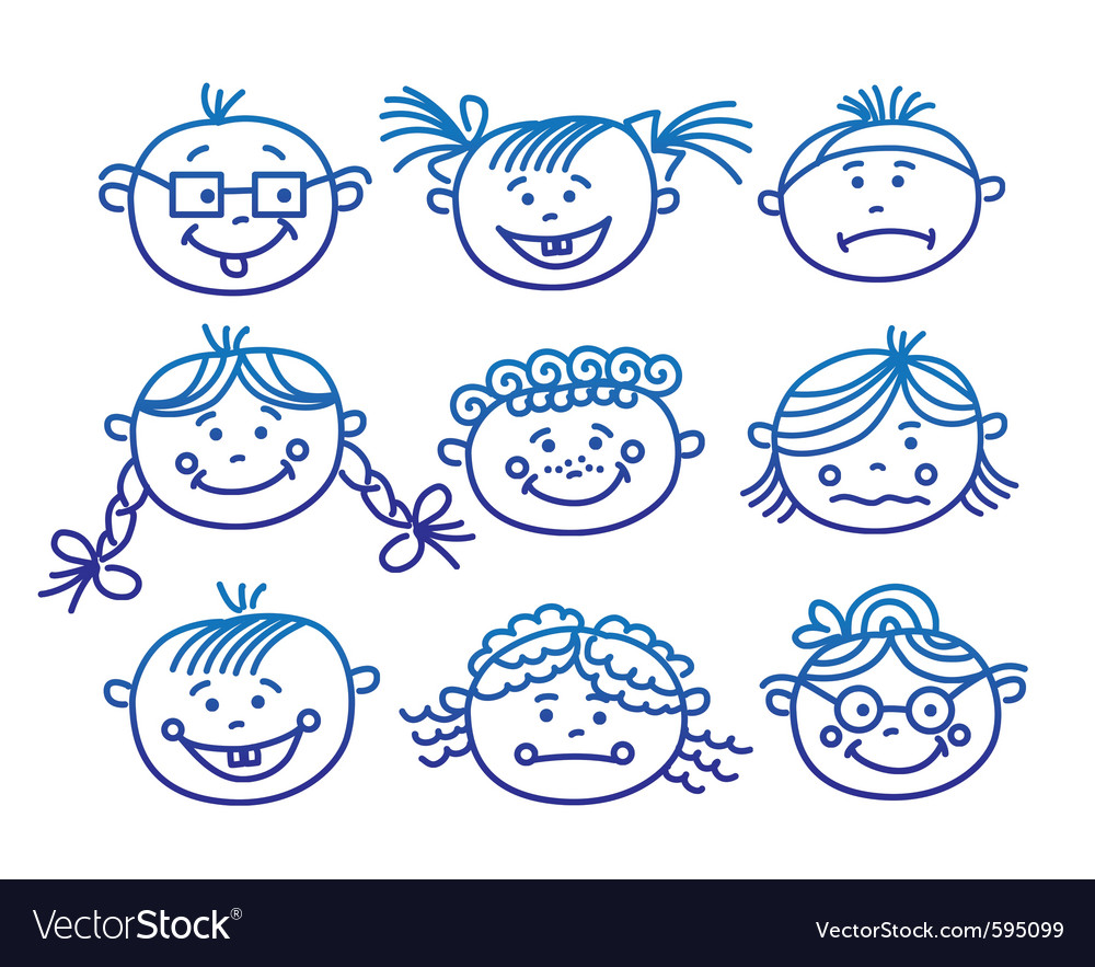 Baby cartoon faces vector