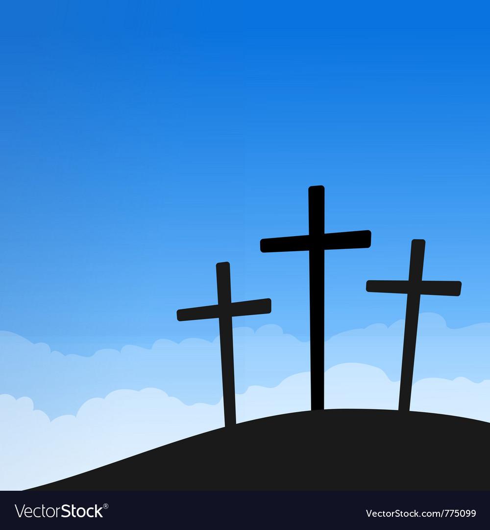 Three crosses on blue sky vector