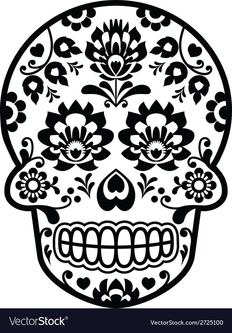 Mexican sugar skull - polish folk art style vector