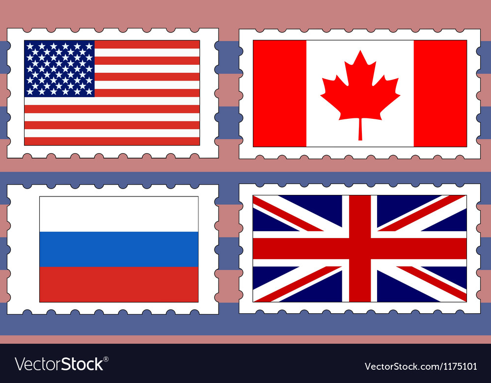 Postage stamps with flags vector