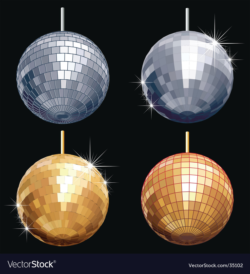 Disco-ball set vector