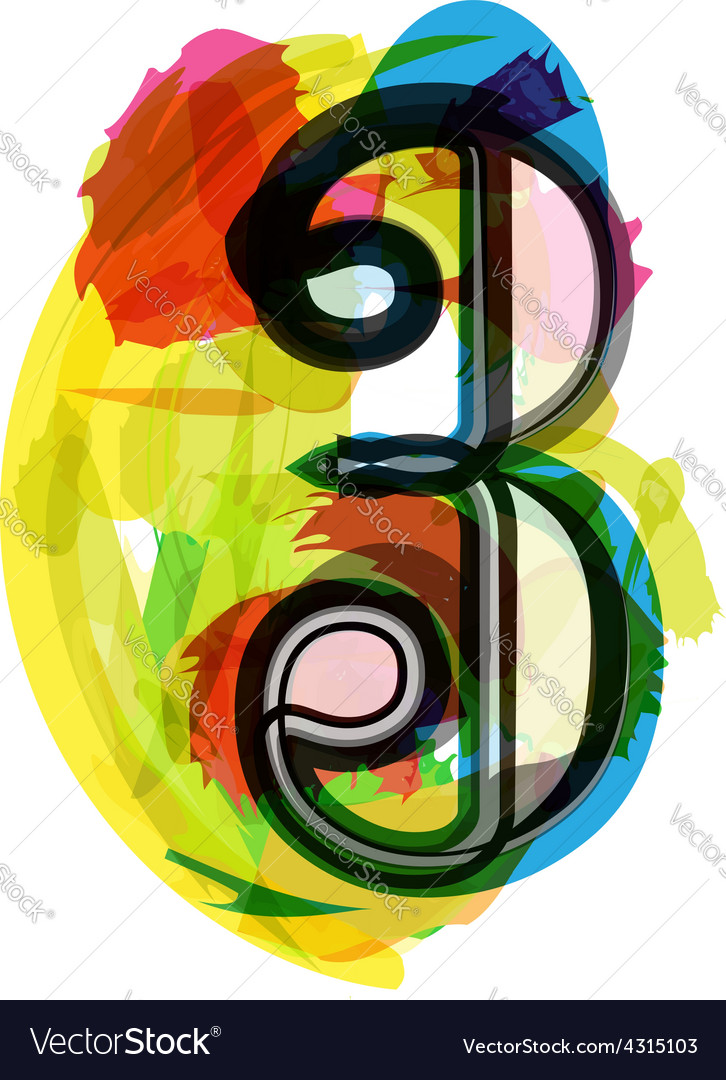 Artistic font - number 3 vector