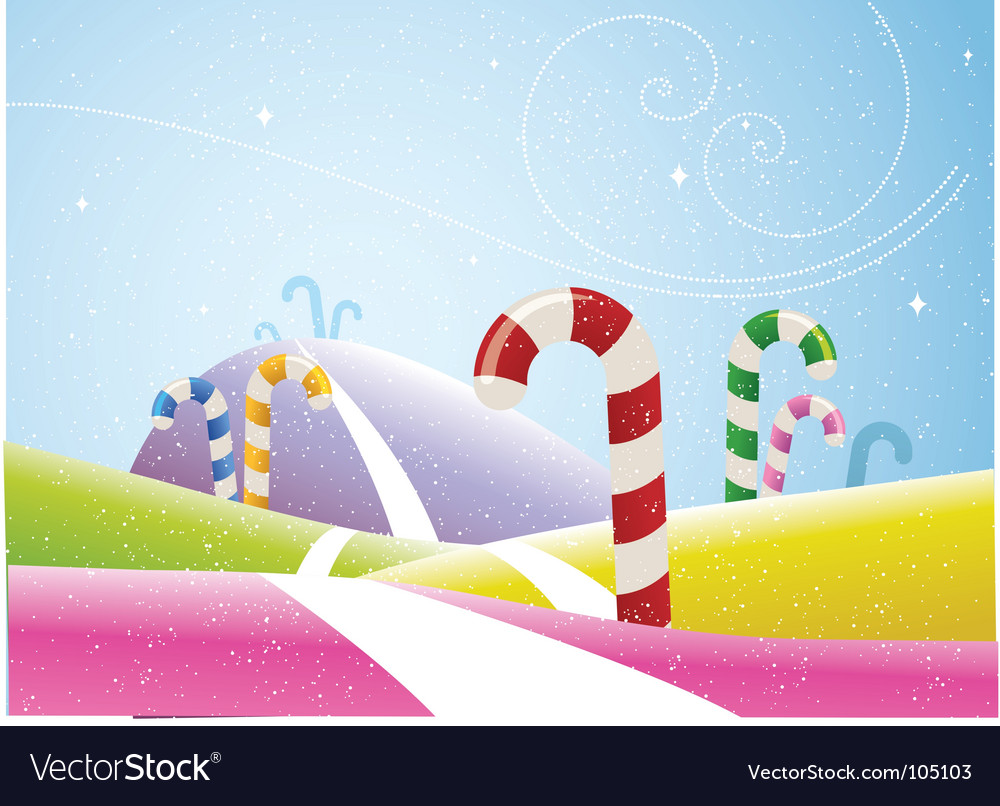 Candy canes landscape vector