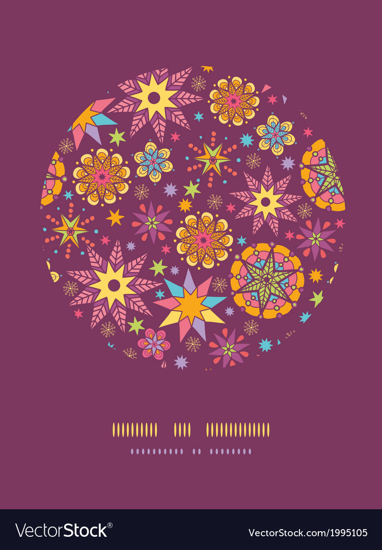 Colorful stars circle decor pattern background vector
