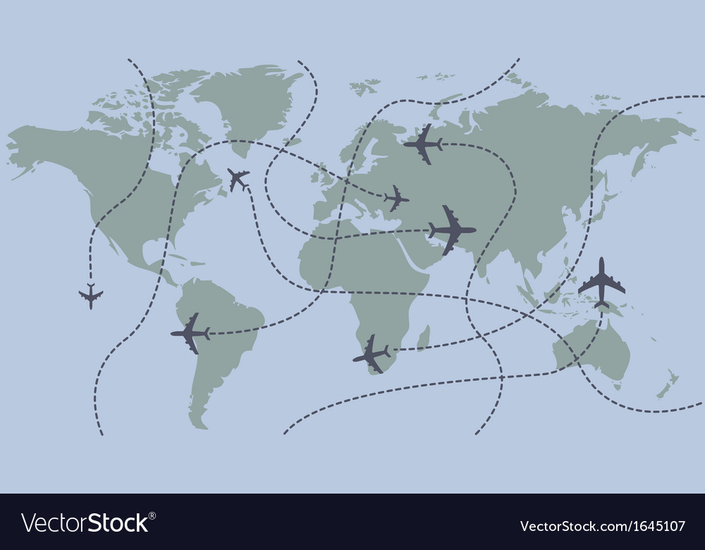 Airplanes traces over the world map vector
