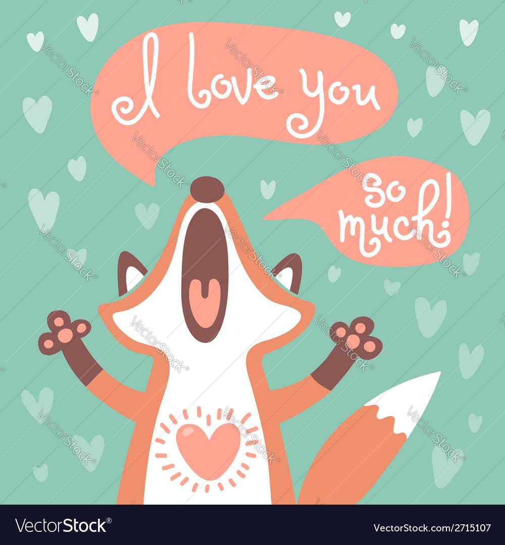 Cute fox confesses his love vector