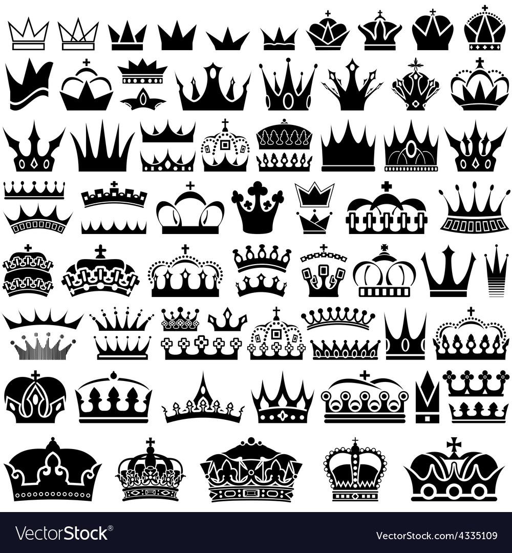 Crown design set vector