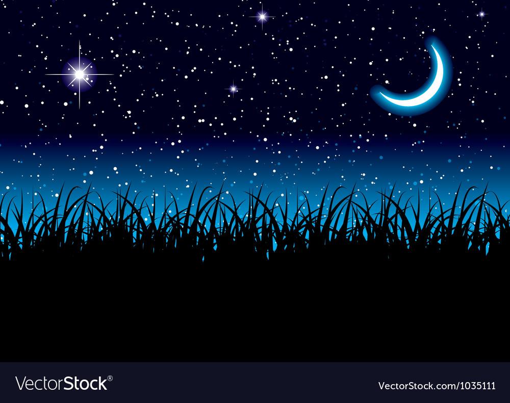 Moon space grass vector