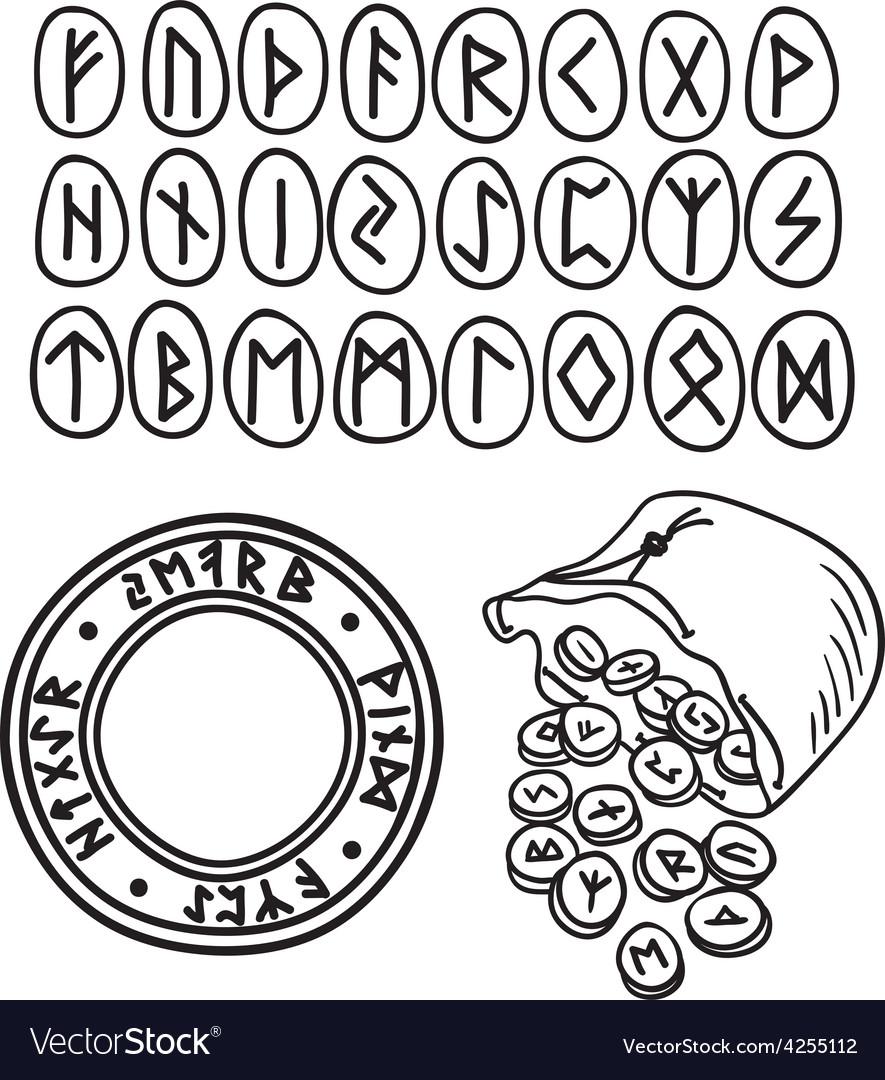 Ancient runes drawing vector
