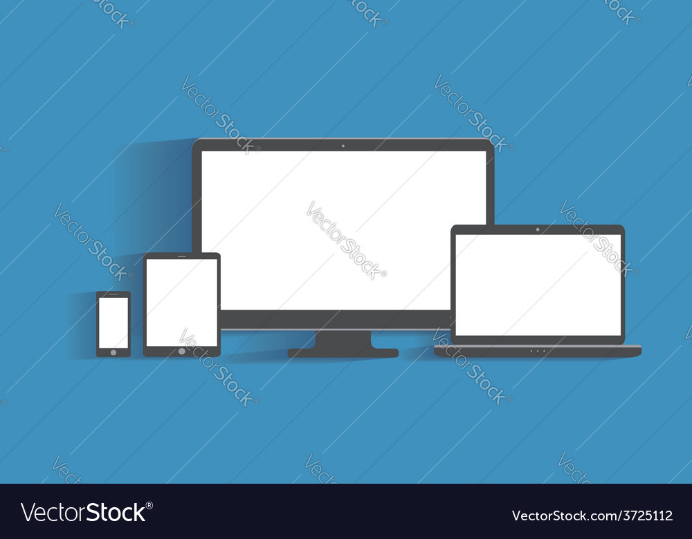 Electronic devices with blank screens desktop vector