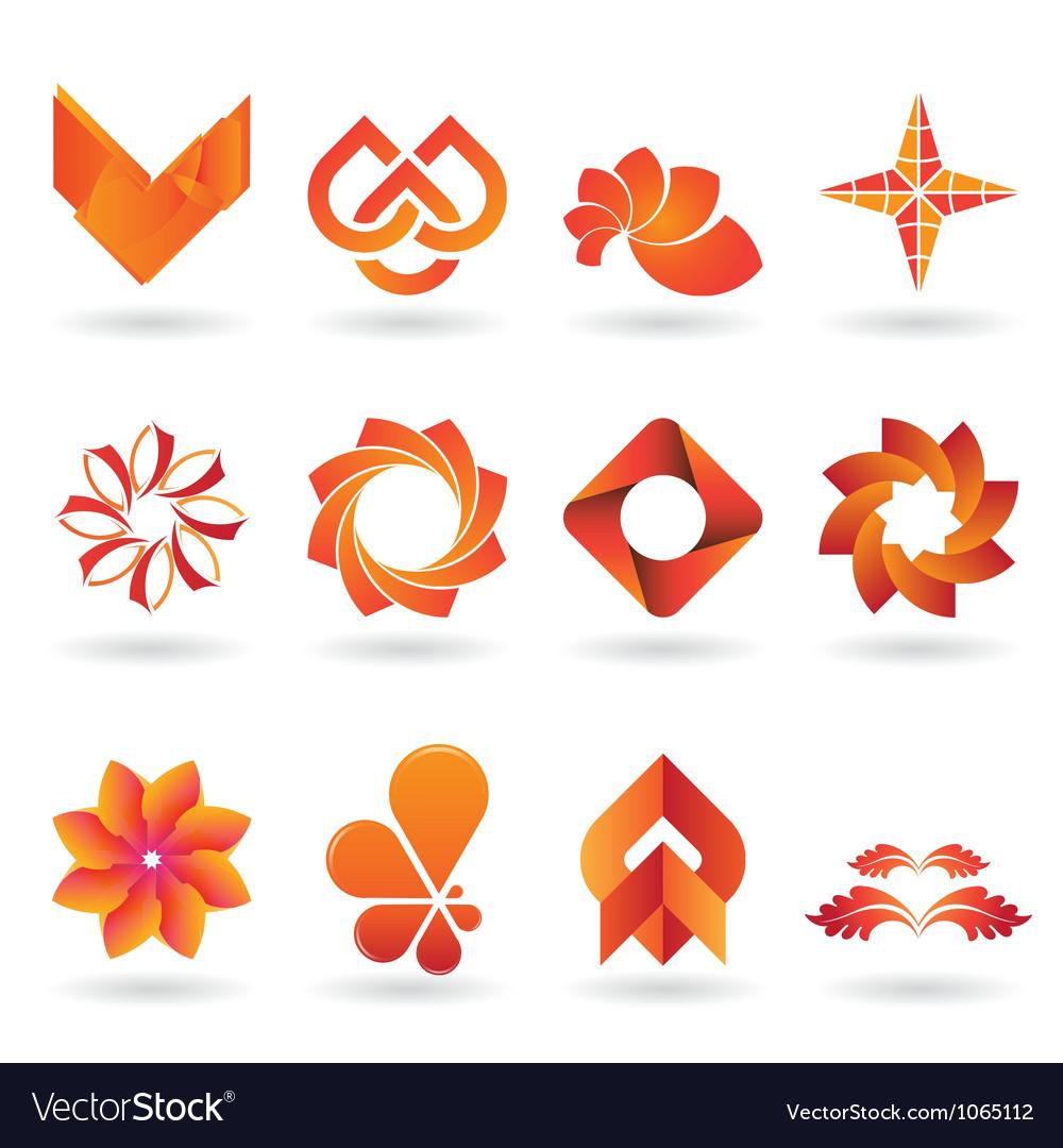 Orange logo set vector
