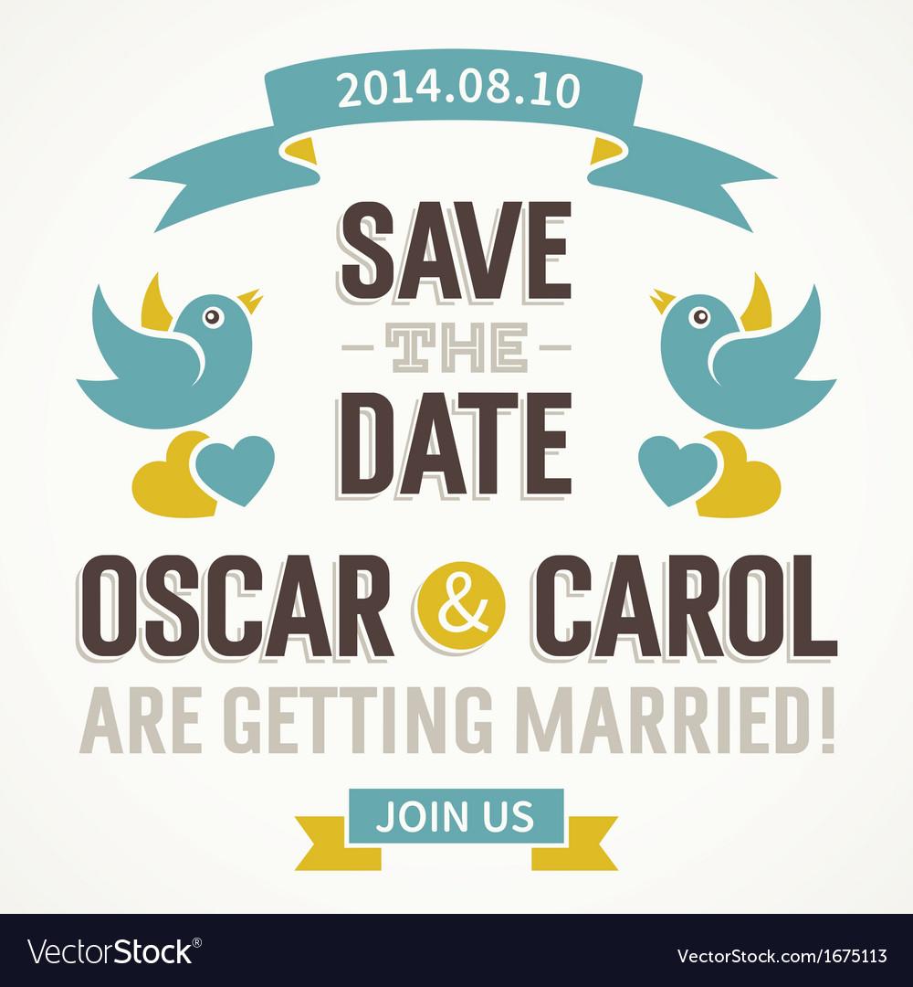 Wedding invitation with cute birds vector