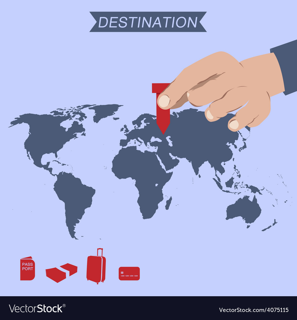 Destination pin on world map vector