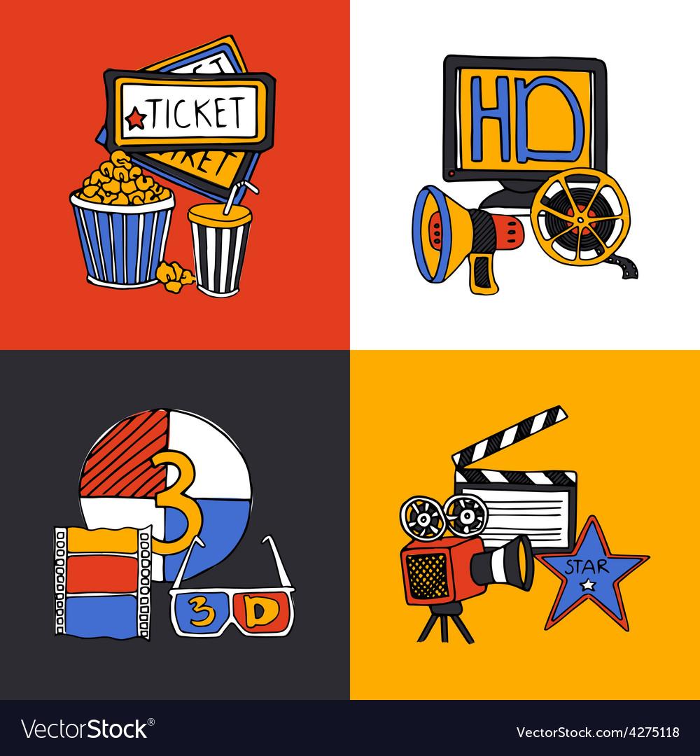 Cinema design concept flat icons set vector