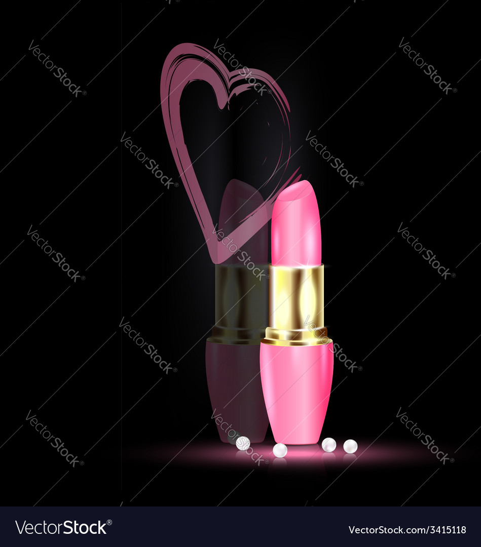 Heart and pink lipstick vector
