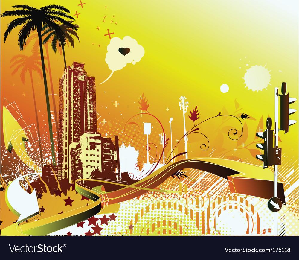 Summer urban grunge background vector