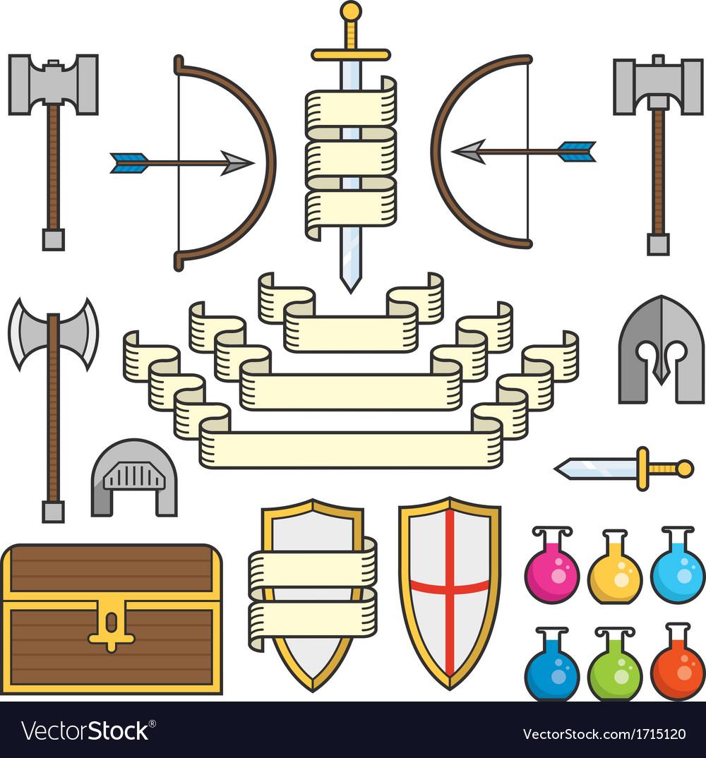Fantasy symbols and scrolls vector