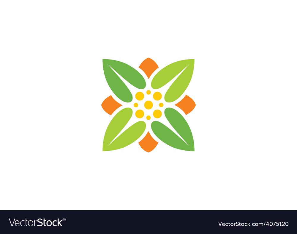 Leaf square ecology herbal logo vector