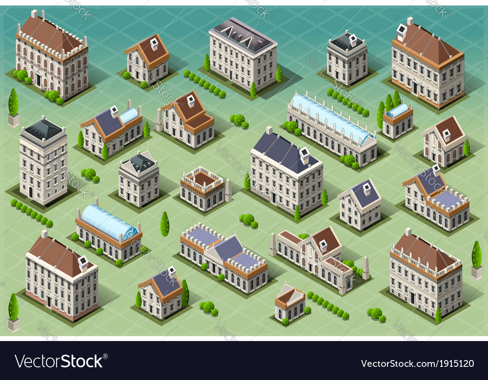 Set of isometric european buildings vector