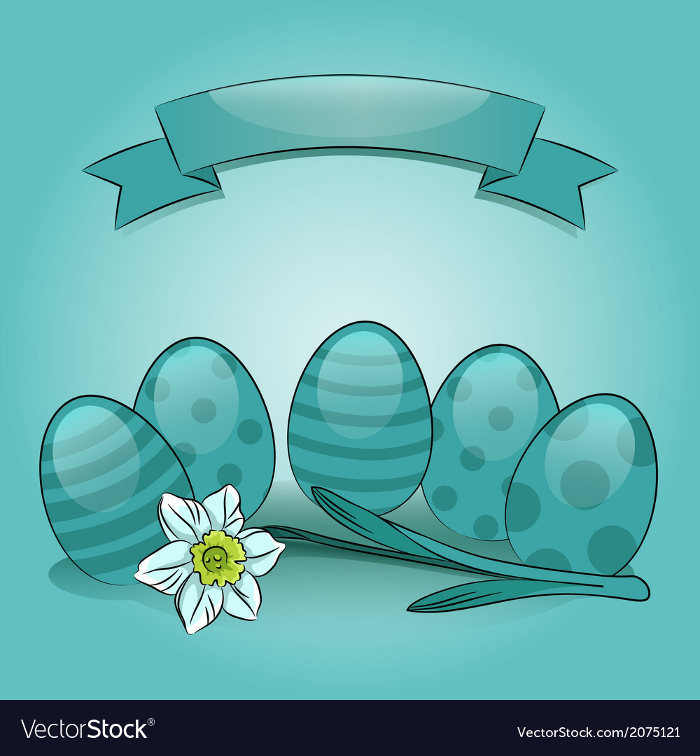 Easter eggs with daffodil and banner vector