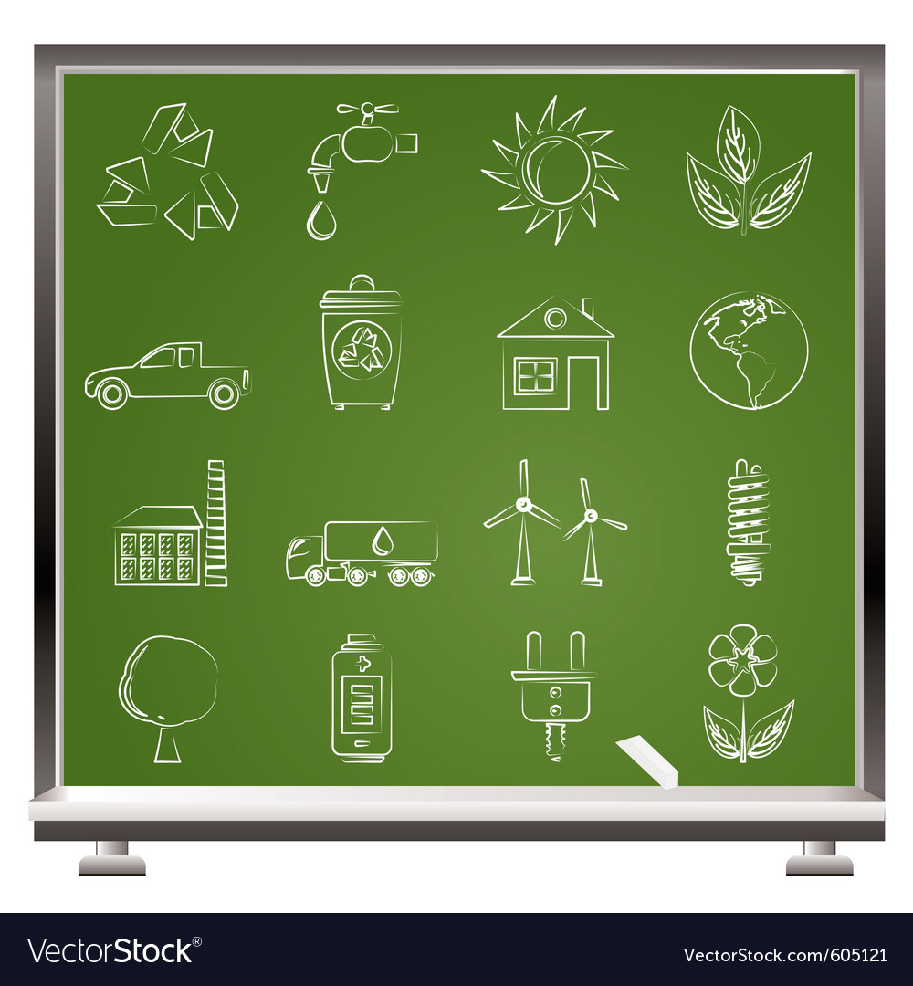 Painted with chalk ecology and environment icons vector