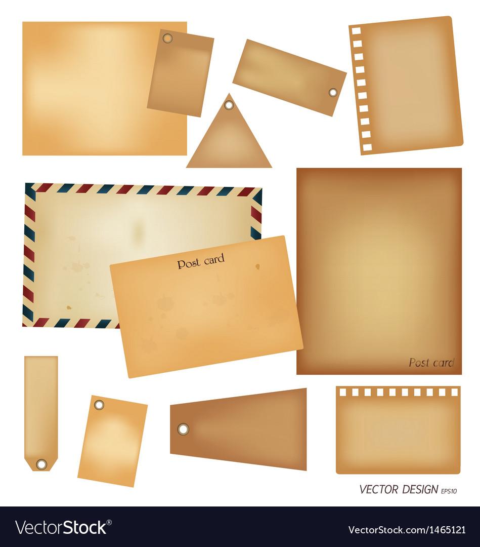 Vintage postcard envelope set vector