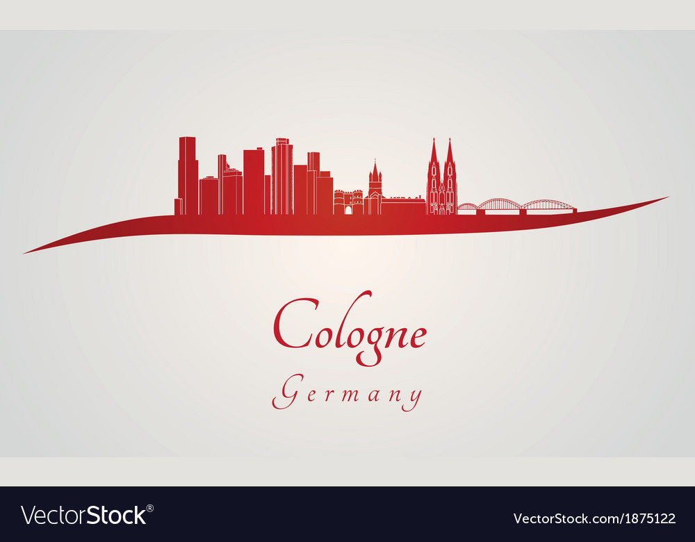 Cologne skyline in red vector
