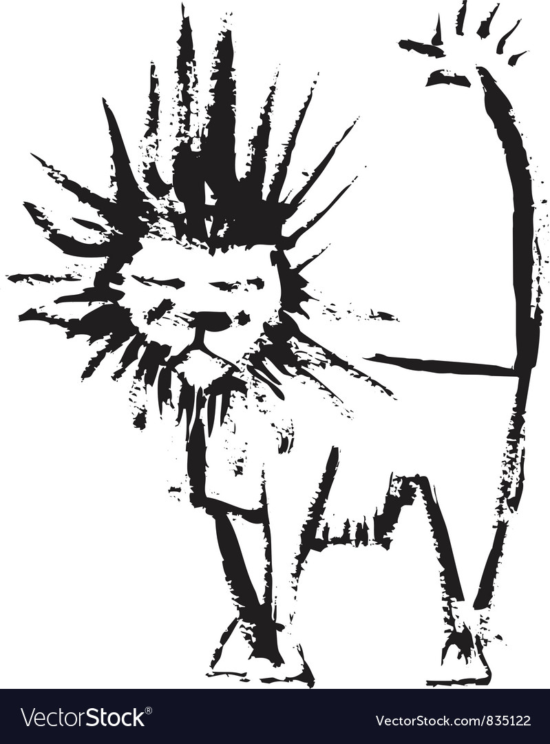 Ink lion vector