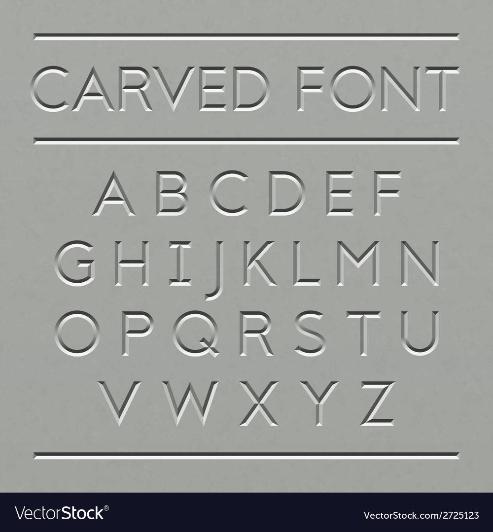 Carved font design vector