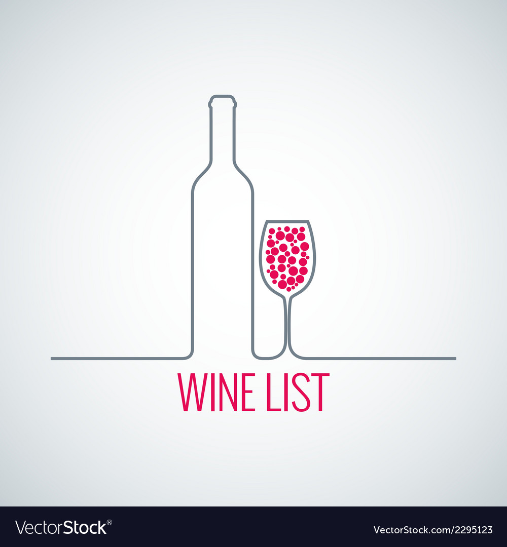 Wine bottle glass list menu background vector