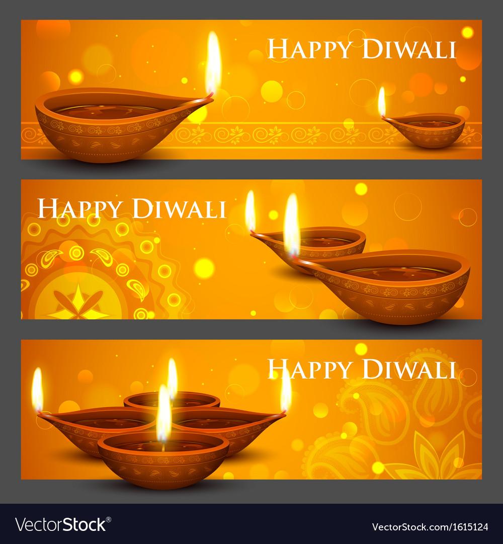 Diwali holiday banner vector
