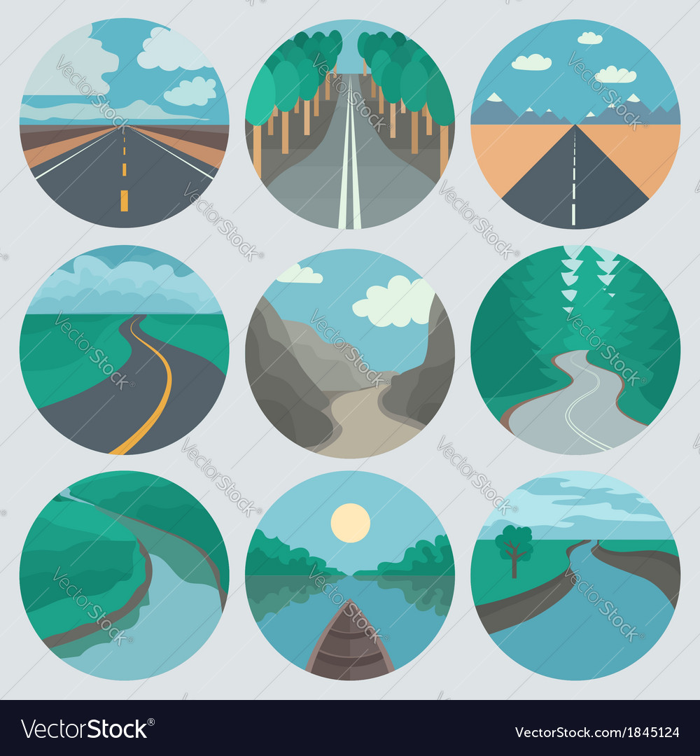 Travel icons set landscapes vector