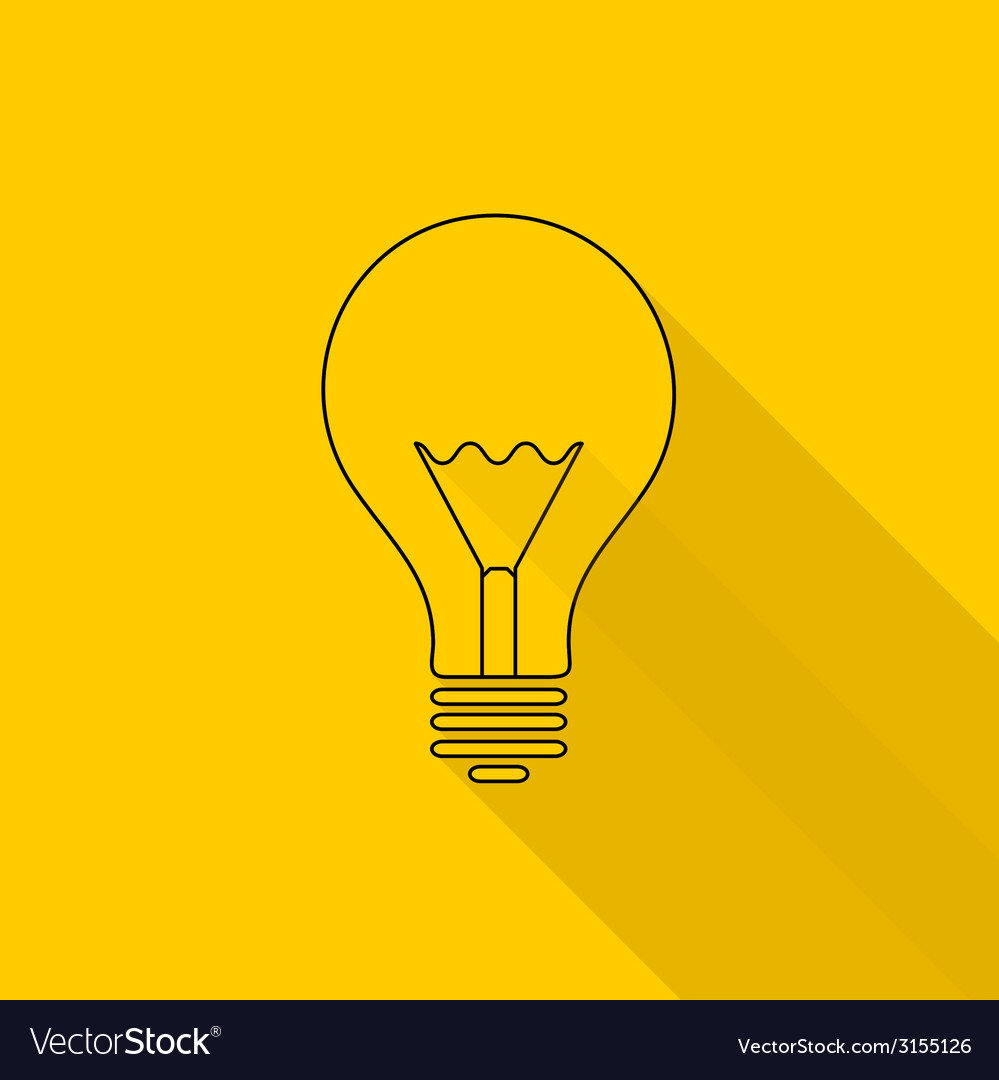 Flat long shadow light bulb icons vector