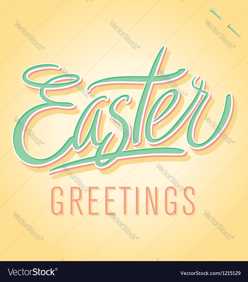 Easter greetings hand lettering vector