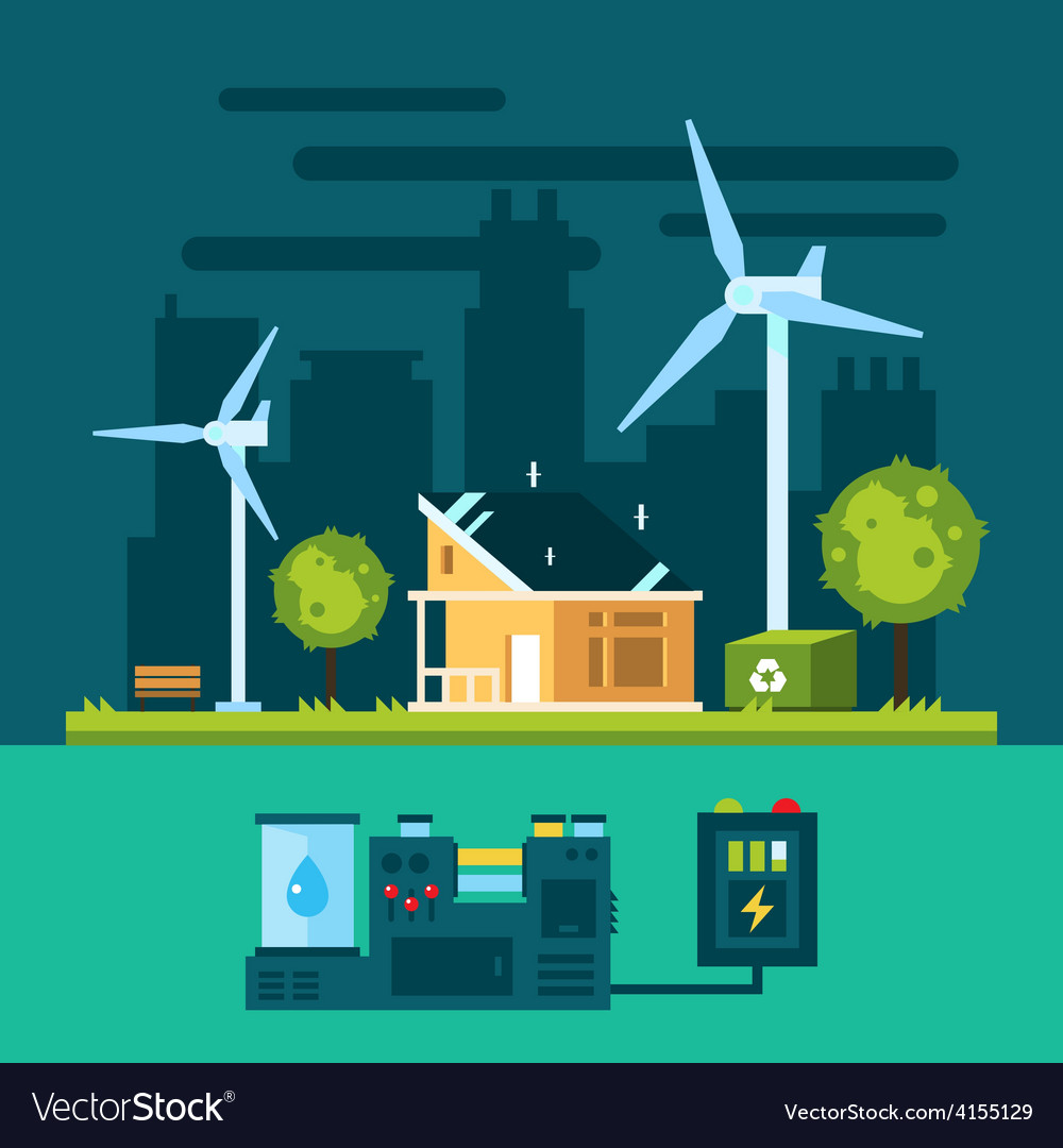 Eco house in urban scene with green energy vector
