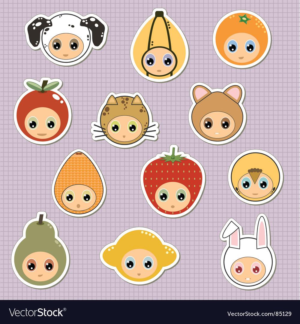 Kids stickers vector