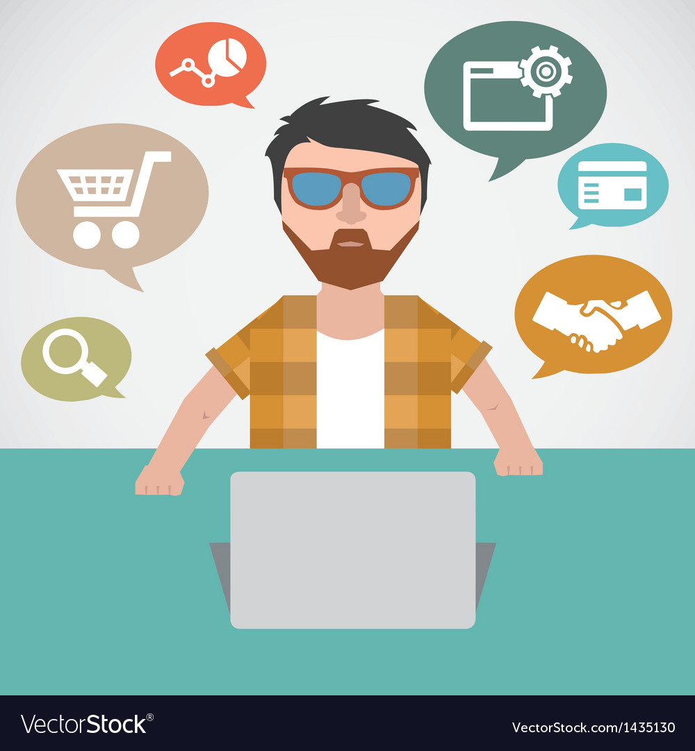 Concept of online marketing vector