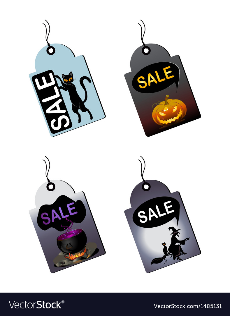 Halloween sale tags vector