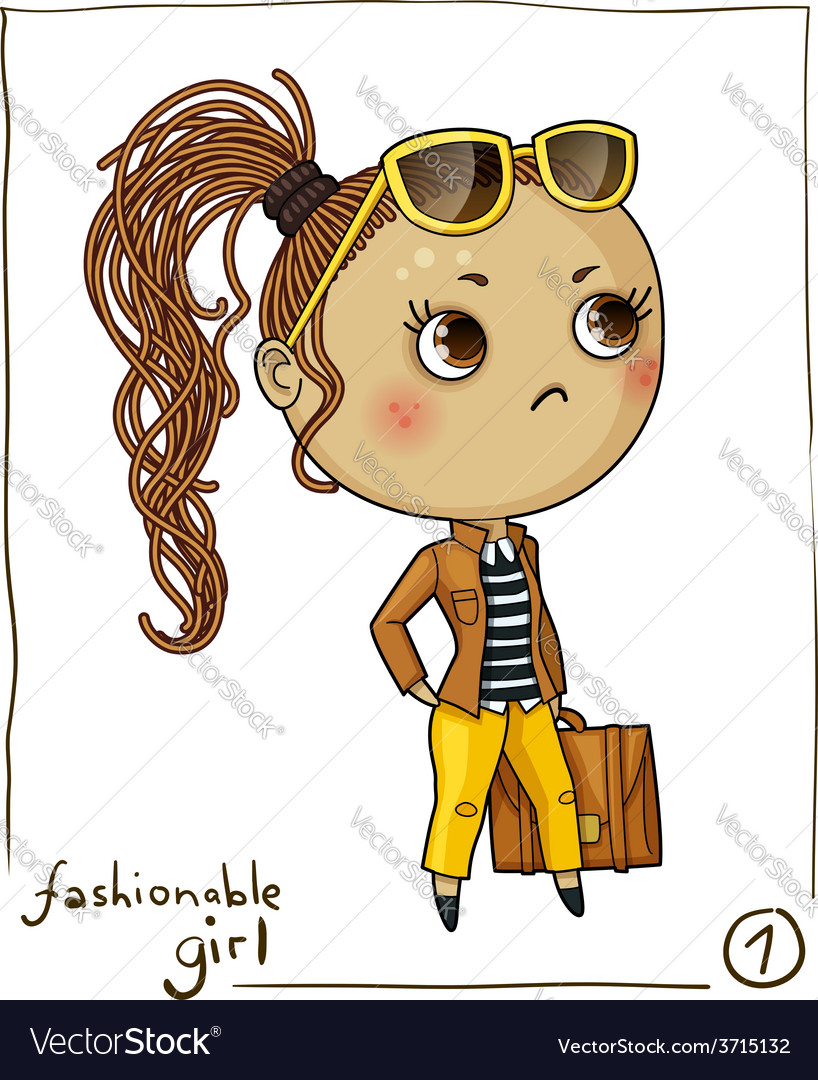 Fashionable girl isolated on white background vector