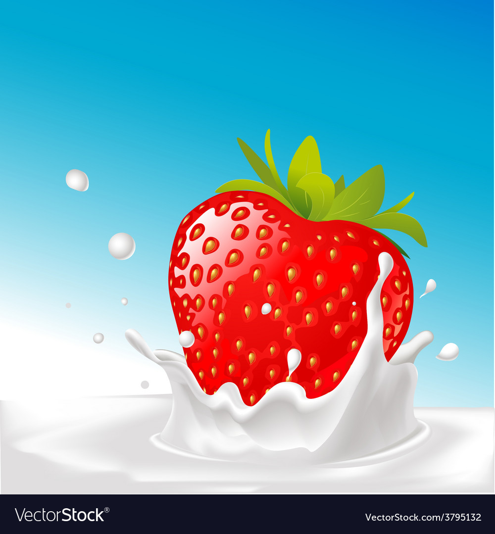 Splash of milk with big strawberry- with blu vector