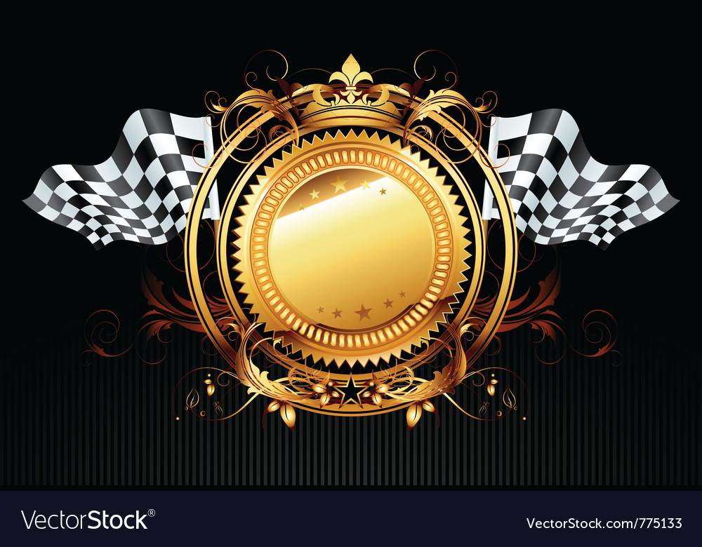 Ornamental shield with flags vector