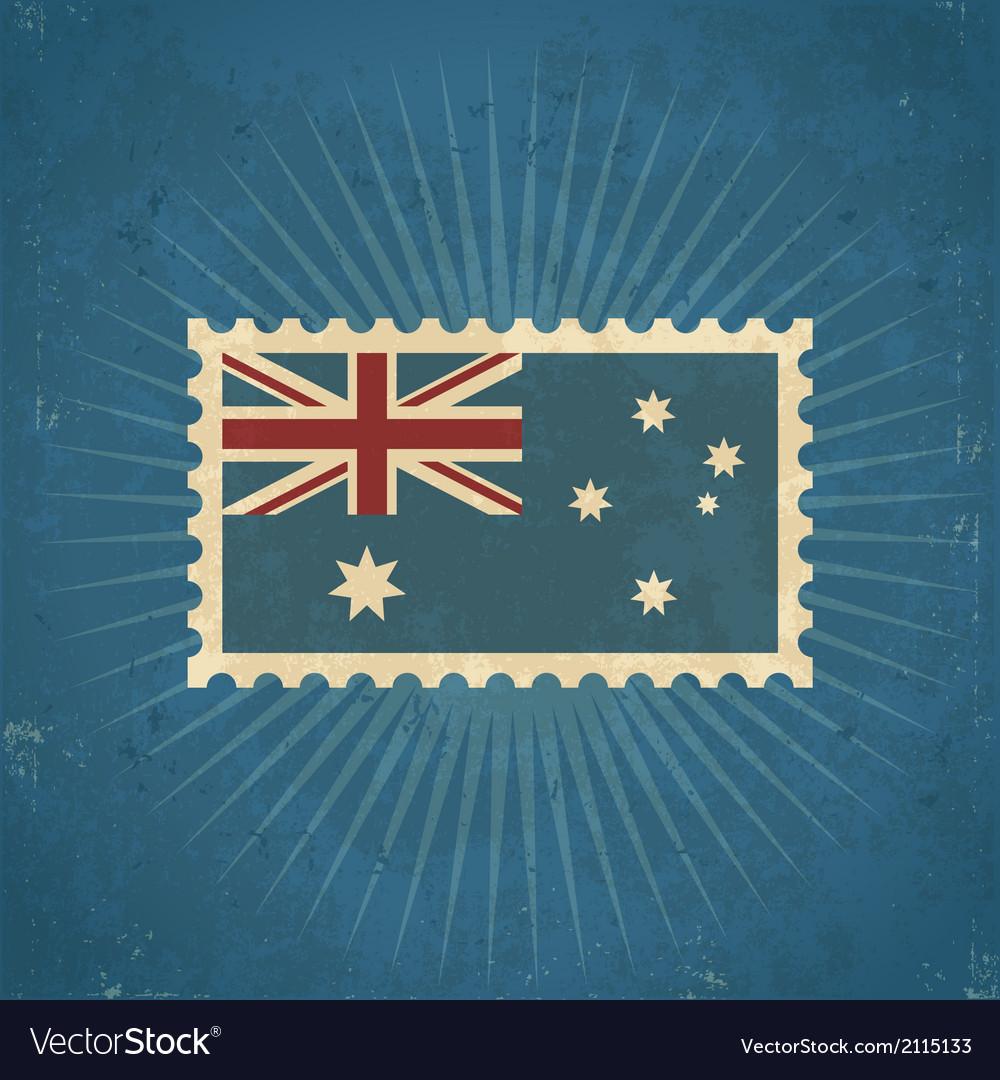 Retro australia flag postage stamp vector