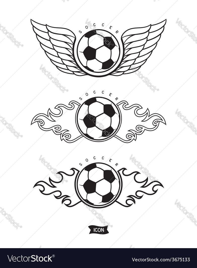 Soccer heraldic icons vector